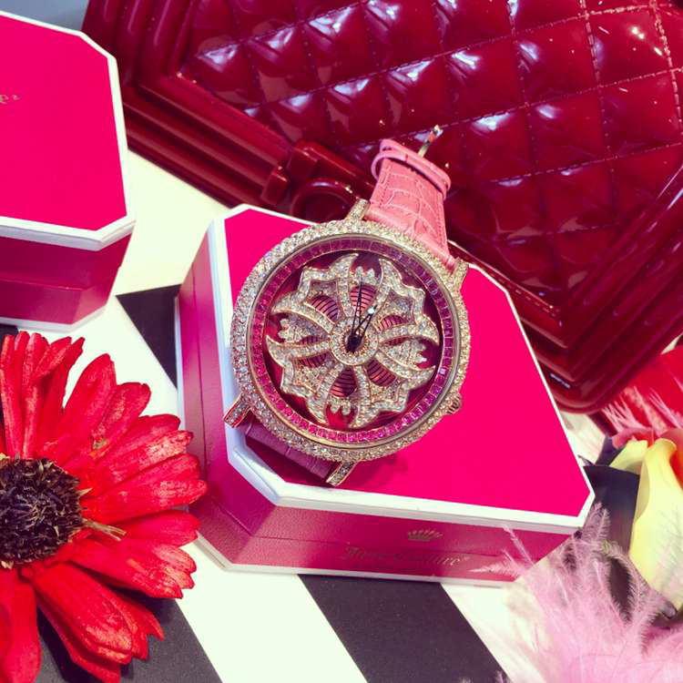 5 Colors! Women Real Leather Watches Lady Shining Rotation Dress Watch Big Diamond Stone Wristwatch Lady Genuine Leather Watch