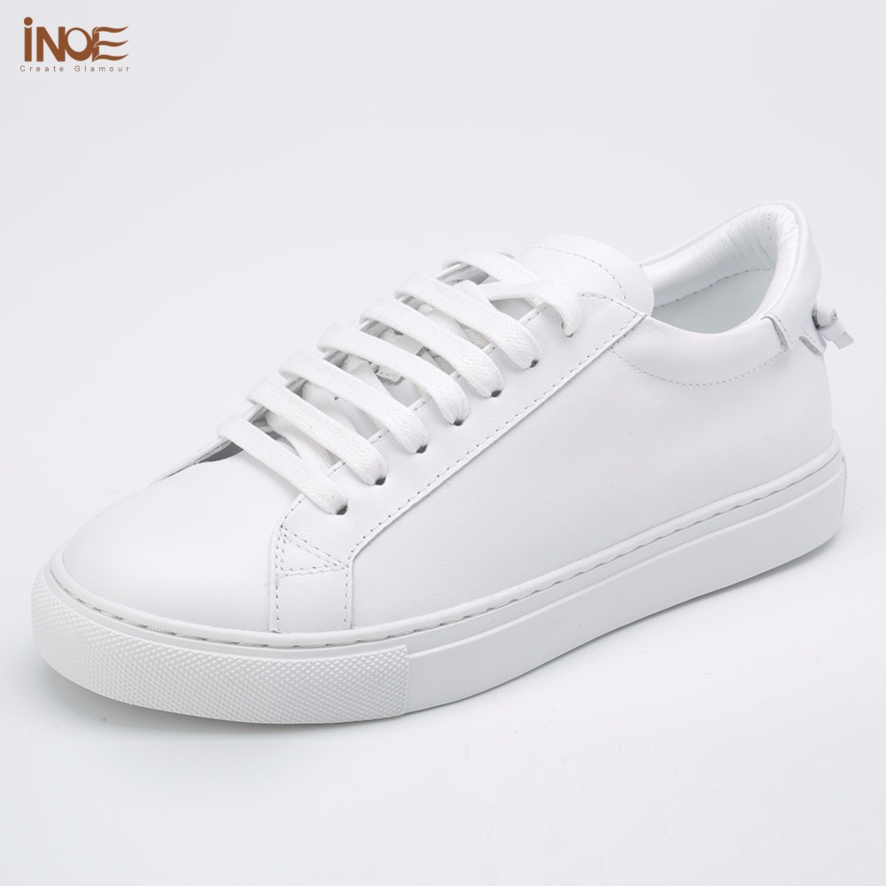 INOE fashion style genuine cow leather casual spring autumn sneakers wedding shoes for women flats leisure