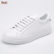 Inoe/модный стиль из натуральной коровьей кожи Повседневная весна-осень кроссовки свадебные туфли для женщин на плоской подошве обувь для отдыха белый, черный, красный
