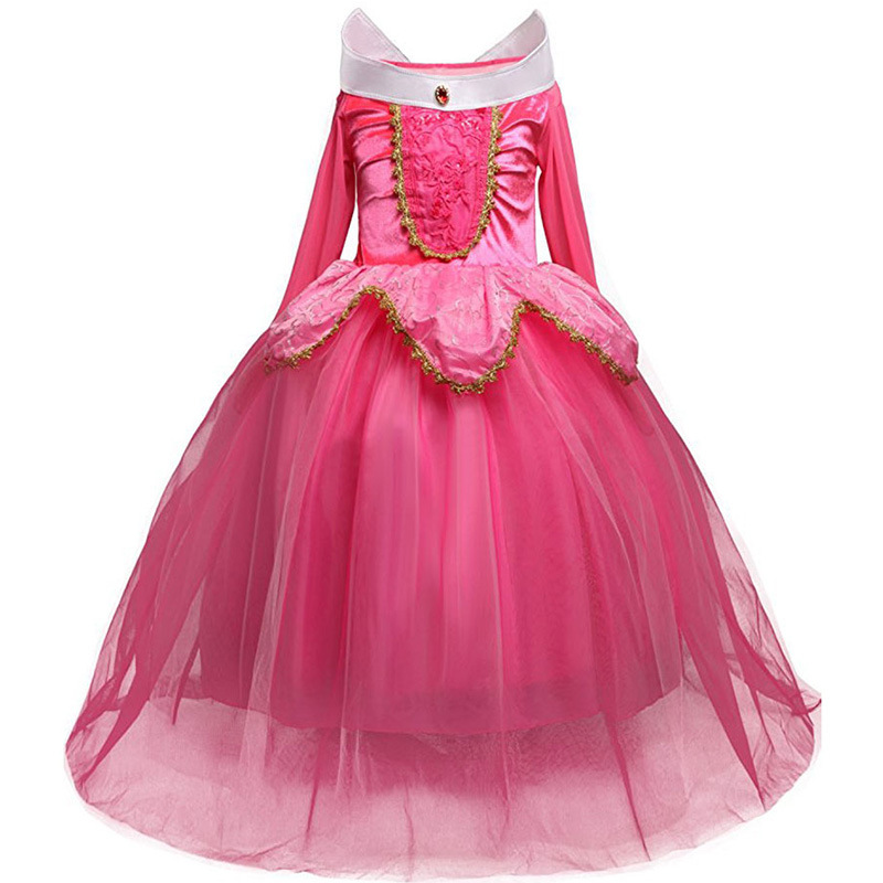 Girls Sleeping Beauty Princess Cosplay Party Dresses Children Long Sleeve Costume Clothing Kids Tutu Dress for Christmas аксессуары для косплея random beauty cosplay