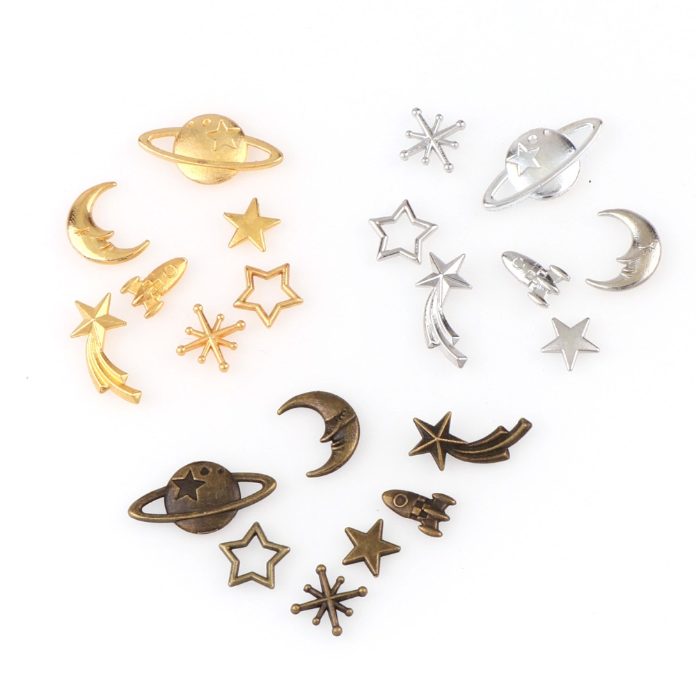 Mix 35pc Universe Planet Rocket Cat Smiling Face Moon Metal Material Epoxy Mold Makeing Jewelry Filling For DIY Jewelry