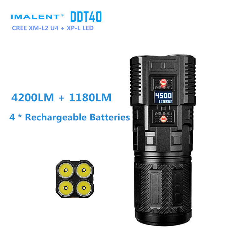 Original IMALENT DDT40 L2 LED Intelligence Touch Led Flashlight with Remote Controls Switch +5180Lumens+Free 4PCS 18650 Battery new imalent ddt40 oled intelligence touch cree xpl hi led searchlight 4500 lumens flashlight with 4 2600mah 18650 batteries