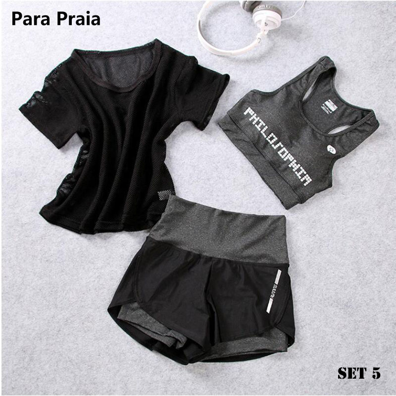 High Waist Three Piece Yoga Set Sportswear for Women Sports Bra Fitness Clothing Women Sports Shorts Gym Workout Crop Top Women