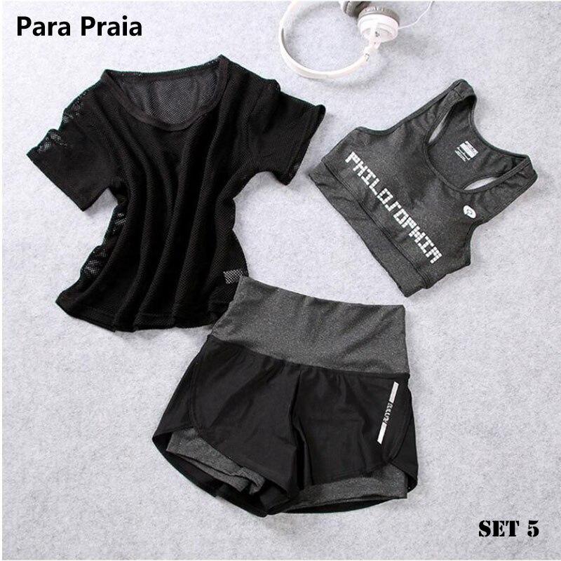 Taille haute de Trois Pièces Ensemble de Yoga Sport pour Femmes Soutien-Gorge de Sport Fitness Vêtements Femmes Shorts de Sport Gym Workout Crop Top femmes