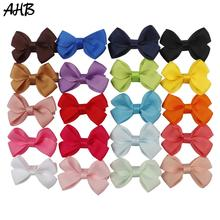 AHB 20pcs/lot 3 Hair Clips for Girls Fashion Solid Grosgrain Ribbons Bows Small Hairpins Barrettes Kids Headwear