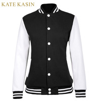 Kate Kasin Women Autumn Long Sleeve Hoodie 2017 Cotton Sweatshirt Baseball Tracksuit Tops Jumper Pullover Casual Hoodied Coat