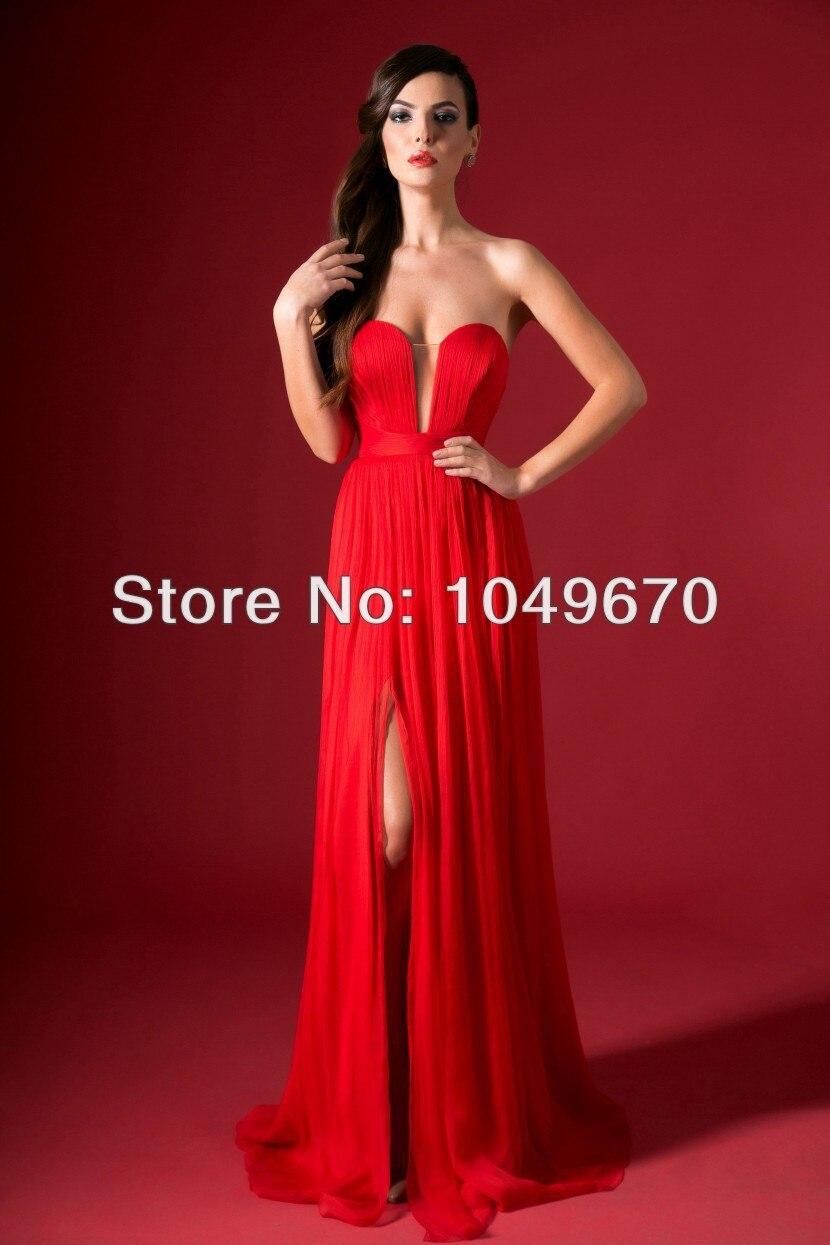 2016 Free Shipping Red Sweetheart Slit Tutu font b Dress b font robe de soiree Floor