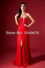 2016 freies Verschiffen Roter Schatz Slit Tutu Kleid robe de soiree Bodenlangen Chiffon Bandage Abendgesellschaft Prom Kleider N057