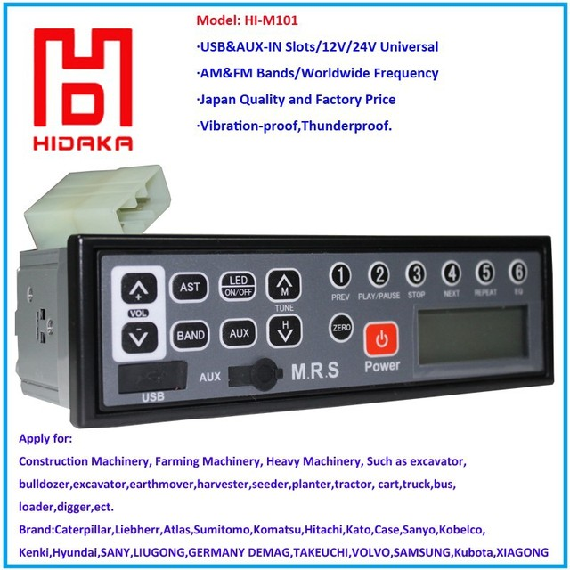 US $59 8 |HIDAKA Factory Radio HI M101 24V 12V Excavator Radio with LED USB  AUX Am Fm for Hitachi Komatsu Kobelco Sumitomo Machinery-in Radio from