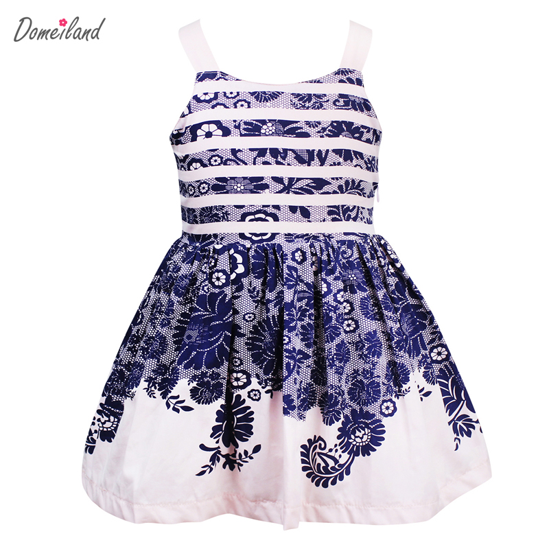 2017 summer children clothing brand domeiland kids girls sleeveless cotton Princess lace print stripe mini party dress clothes 2017 new arrival girls lace princess dress new summer brand baby girls party dress kids clothes cotton children age 5 14t