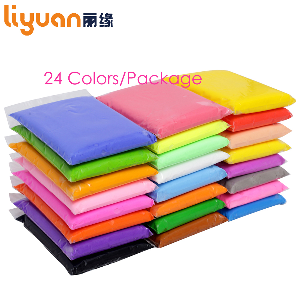 Liyuan 24pcs Soft Air Dry Colored Light Clay Polymer DIY Plasticine Modeling Clay Playdough Toy 2400g/84.64oz a suit of retro fake gem rhinestone leaf tassel necklace and earrings for women