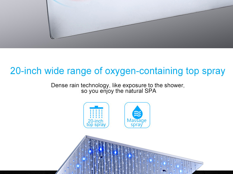 hm Rain And Mist LED Ceiling Shower Fauct Tap 20 Inch Tempetatures Change Bathroom Shower Kit 3 Pcs Body JetsMixer Shower (4)