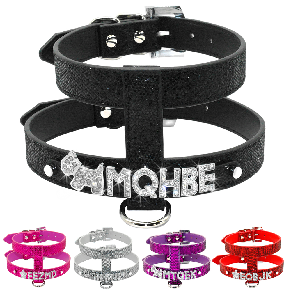 5 Colors Free Name Customized PU Leather Dog Harness Personalized with Crystal Letters S M L