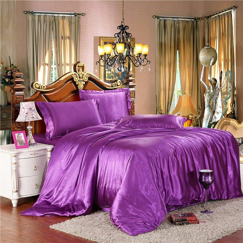 Wine Bedding-Sets Satin Quilt/duvet-Cover-Sets Silver Silk Gold Red 70 70