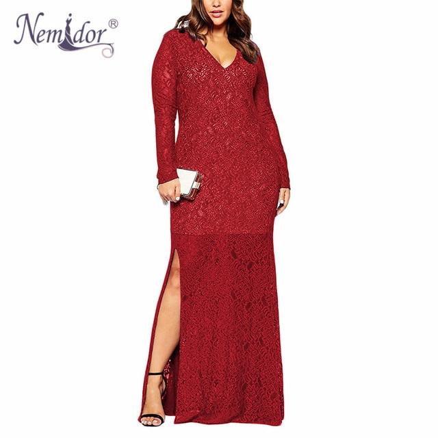 Nemidor 2017 outono das mulheres com decote em v elegante party dress plus size 6XL 7XL 8XL Sexy Lace Partido Long Sleeve Maxi Divisão dress