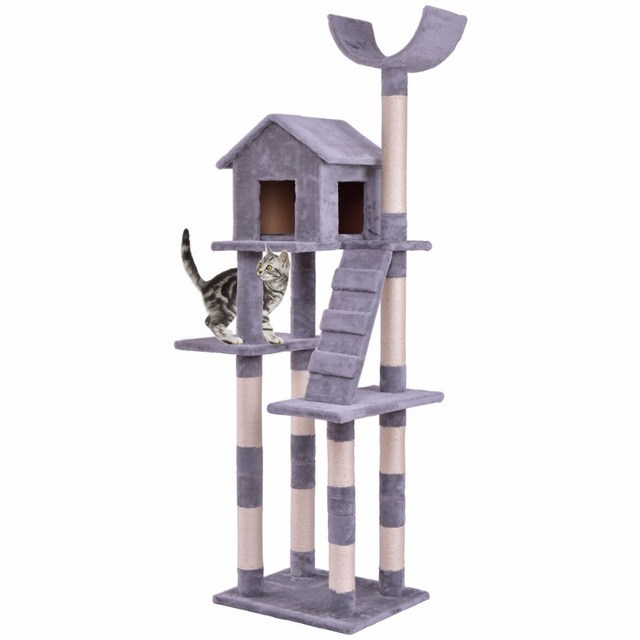 Goplus Cat Tree Wood Condo Tower Scratching Posts Pet Kitten Furniture Play House With Ladder Modern