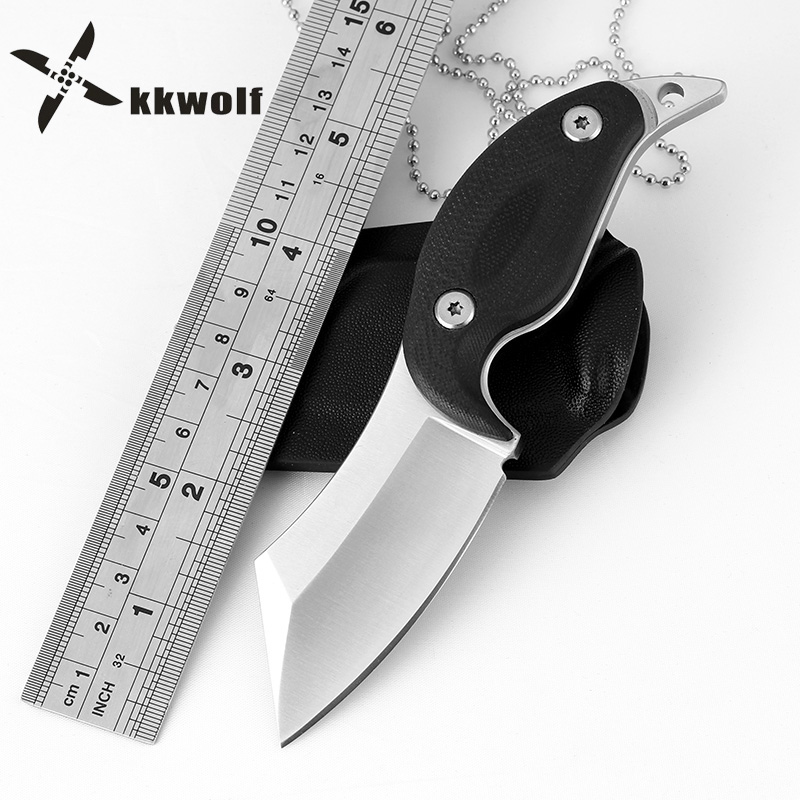KKWOLF Portable Necklace Straight Knife Fixed Blade Knife Survival Hunting Outdoor Tactical Camping Pocket Knife Multi Tool kkwolf damascus steel antler handle fixed blade knife survival camping tactical hunting knife pocket multi tools lowest price