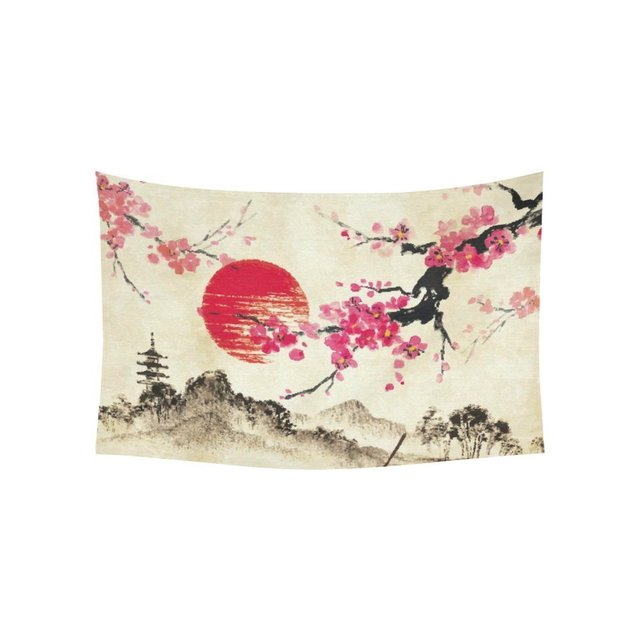 Landscape Wall Art Home Decor Anese Sakura Cherry Blossom Moon Tapestry Hanging Sets