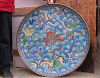 B0601 415 Royal Palace Chino de Cobre de Bronce Del Esmalte Del cloisonne Lucky Nueve Dragón Plato placa