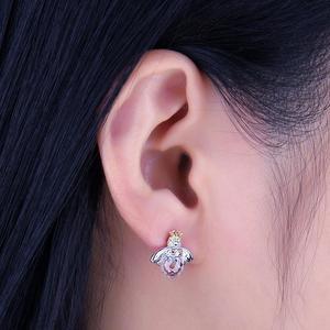 Image 4 - Jewelrypalace Crown Bee Zirconia Stud Oorbellen 925 Sterling Zilveren Oorbellen Voor Vrouwen Koreaanse Oorbellen Fashion Sieraden 2020