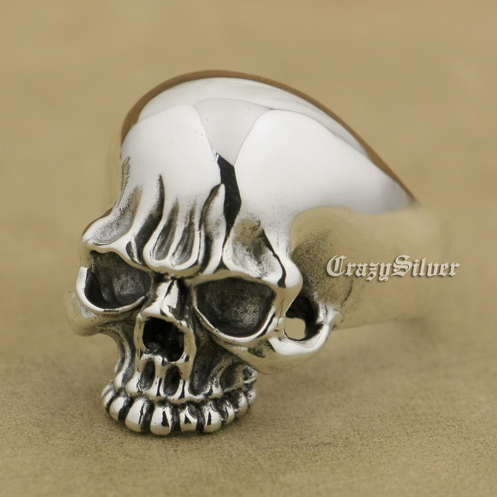 925 Sterling Silver High Polish Mens Biker Punk Skull Ring TA34A US 7~15 925 sterling silver high details skull ring mens biker punk ring ta118a us 7 15
