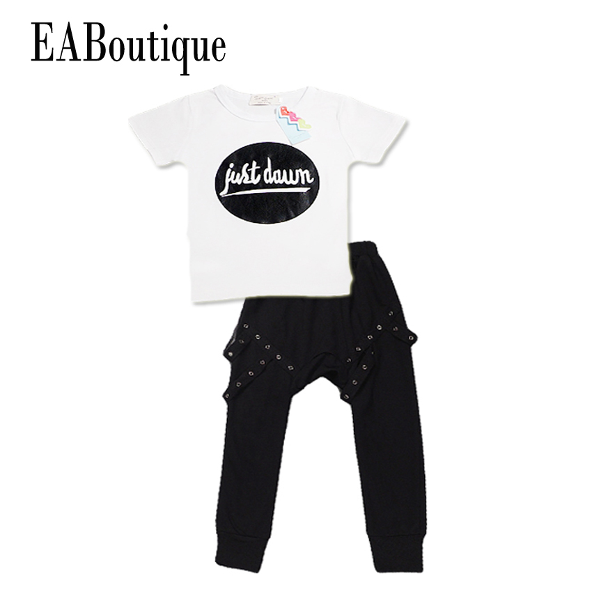 EABoutique Summer New Fashion Rock Punk style Toddler baby boys clothing set T-shit with Harem Pants 2 piece set capelli new york toddler boys two tone clog with backstrap
