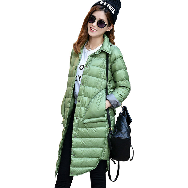 Autumn Women's Lightweight Single Breasted   Down   Jackets Shirt Collar Slim Long   Down     Coats   female Outerwear YR16