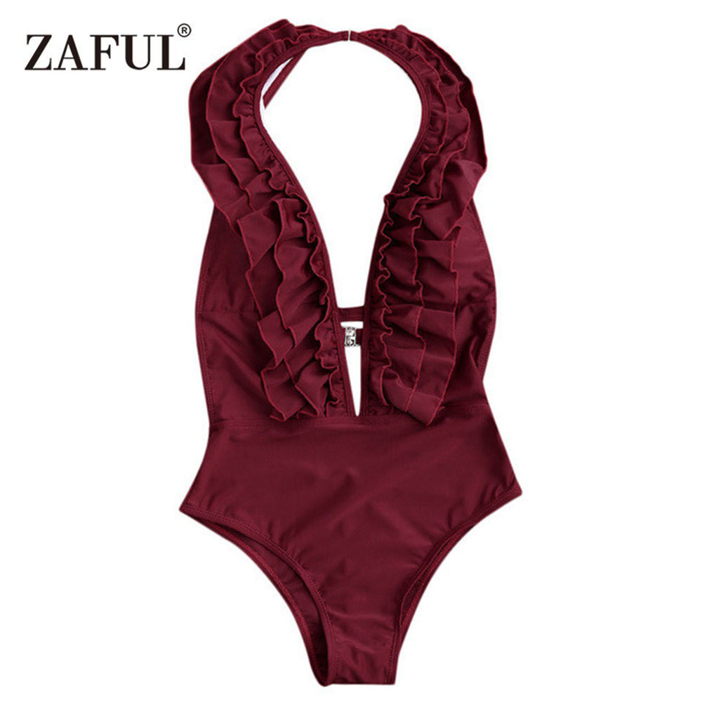 ZAFUL One Piece Swimsuit Ruffle Halter Swimwear Women Plunge Neck High Waist Swimsuit Micro-elastic Solid Sexy Bathing Suit цена