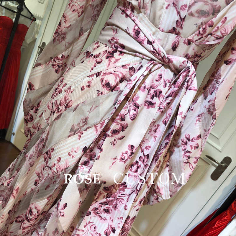 赤 RoosaRosee デザイナー滑走路女性のセクシーな V ネックヴィンテージパフ袖フラワープリント不規則な女性 Vestidos ローブファム