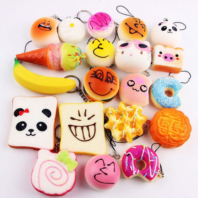 Random 50 Pcs Squishies Cream Scented Slow Rising Kawaii Simulation Lovely Toy Jumbo Medium Mini Soft Squishy Phone Straps 3