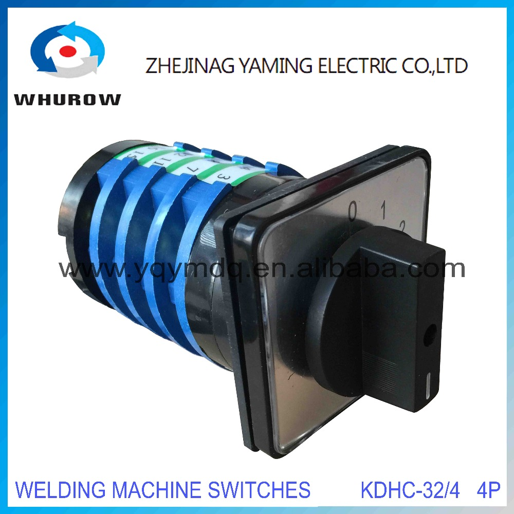 KDHC-32/4*3 electrical switches for CO2 welding machine changeover rotary switch 4 poles 3 position 0-3 High quality AC50Hz 380V 660v ui 10a ith 8 terminals rotary cam universal changeover combination switch