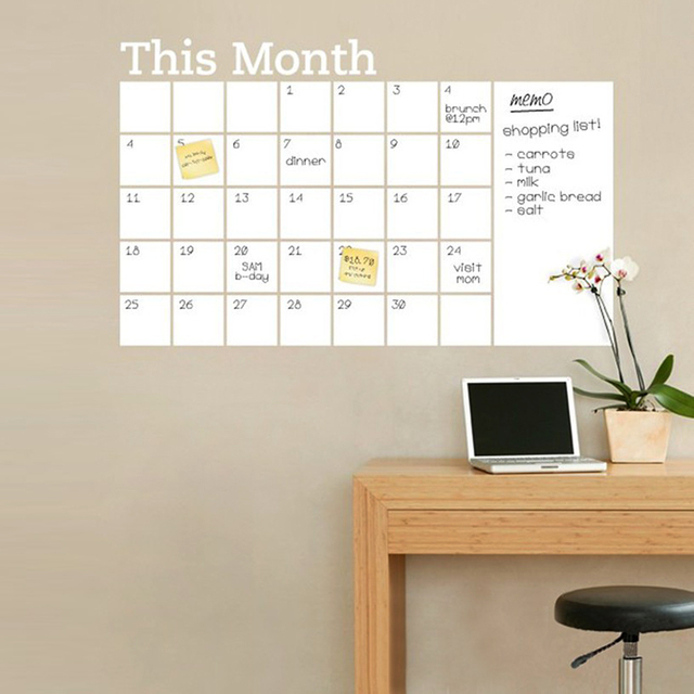 wall sticker removable charlkboard calendar wall decal month