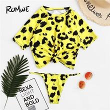 5c30523c85 Romwe Sport Yellow Leopard Print High Neck Top Tee Tankini Set Women Summer  Thong Bottoms Beachwear Swimming Two-Pieces Suits