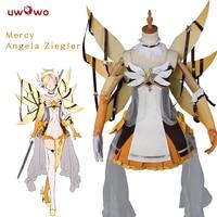 UWOWO OW Mercy Cosplay Game Mercy Angela Ziegler Cosplay Costume Women Yellow Angel Costume With Wings