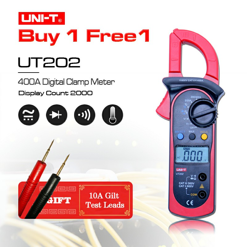 High Accuracy UNI-T UT202 Digital Clamp Multimeters Ohm DMM DC AC Voltmeter AC Ammeter+Gift токовые клещи uni t ut202