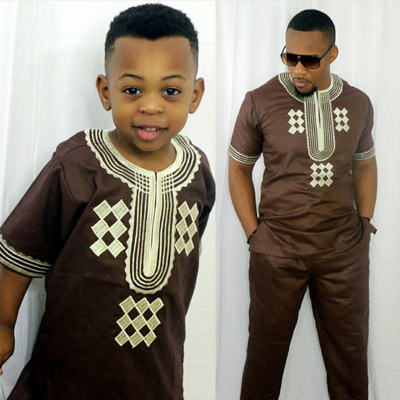 Dashiki genitore bambini del capretto impostato 2018 africano abbigliamento africano uomini dashiki abbigliamento bazin riche camicia mutanda due 2 pezzo tute bambini