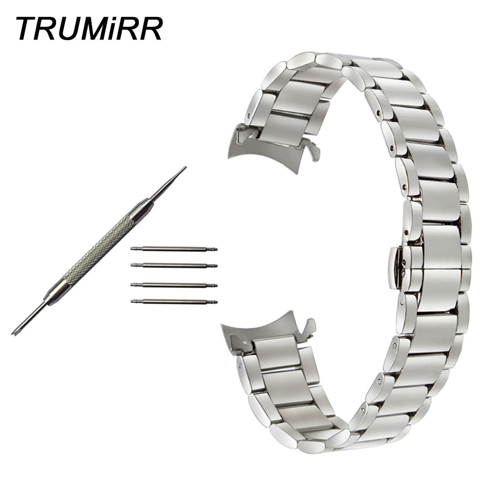 Stainless Steel <font><b>Watchband</b></font> Curved End Strap for <font><b>Seiko</b></font> Men Women Watch Band Wrist Belt Bracelet Silver Gold 16mm 18mm <font><b>20mm</b></font> 22mm image
