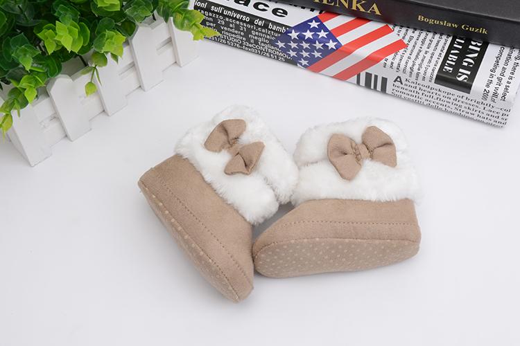 2017 вязание ручной работы бантом руно снегоступы для маленьких девочек мальчиков анти-силп prewalker пинетки обувь для младенцев 0-18 месяцев