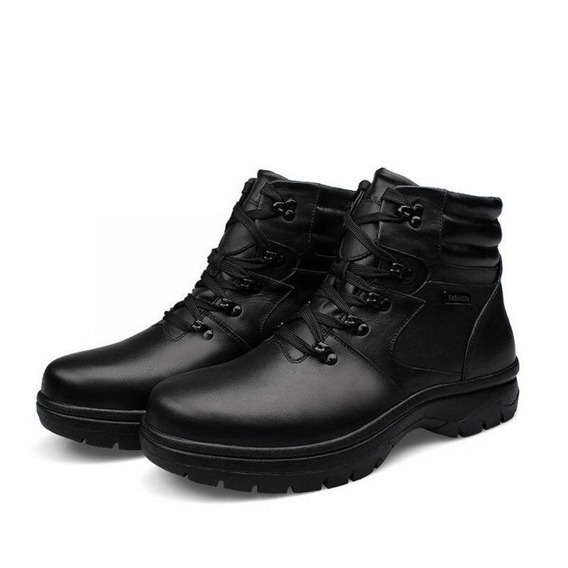 d92f33fe3 جديد أزياء الرجال الشتاء الثلوج الأحذية منصة عالية أعلى الدانتيل يصل جلد  طبيعي مارتن الدافئة رجل أحذية الكاحل العسكرية زائد الحجم 45-54