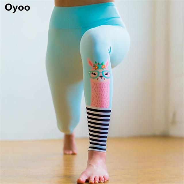 72f537e889009 Oyoo Cute Rabbit Printed Blue Pink Yoga Pants Comfy Leggins Sport Women  Fitness Cartoon Gym Leggings Summer Fitness Clothing