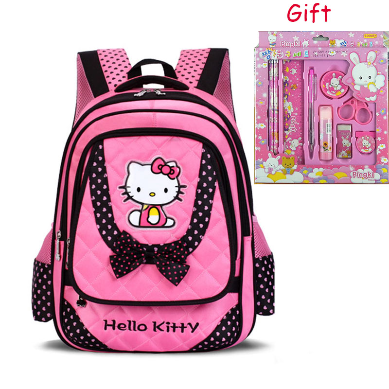 Child School Bags Primary School Students Schoolbags Girls Female Kids Backpacks Mochila Infantil Cat Bow Girl Book Bag Bolsa