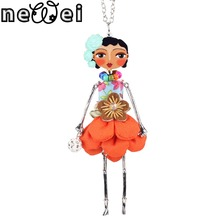 Newei Doll Necklace Long Chain Pendant Acrylic Alloy Dress New Trendy Jewelry For Women Girl Statement