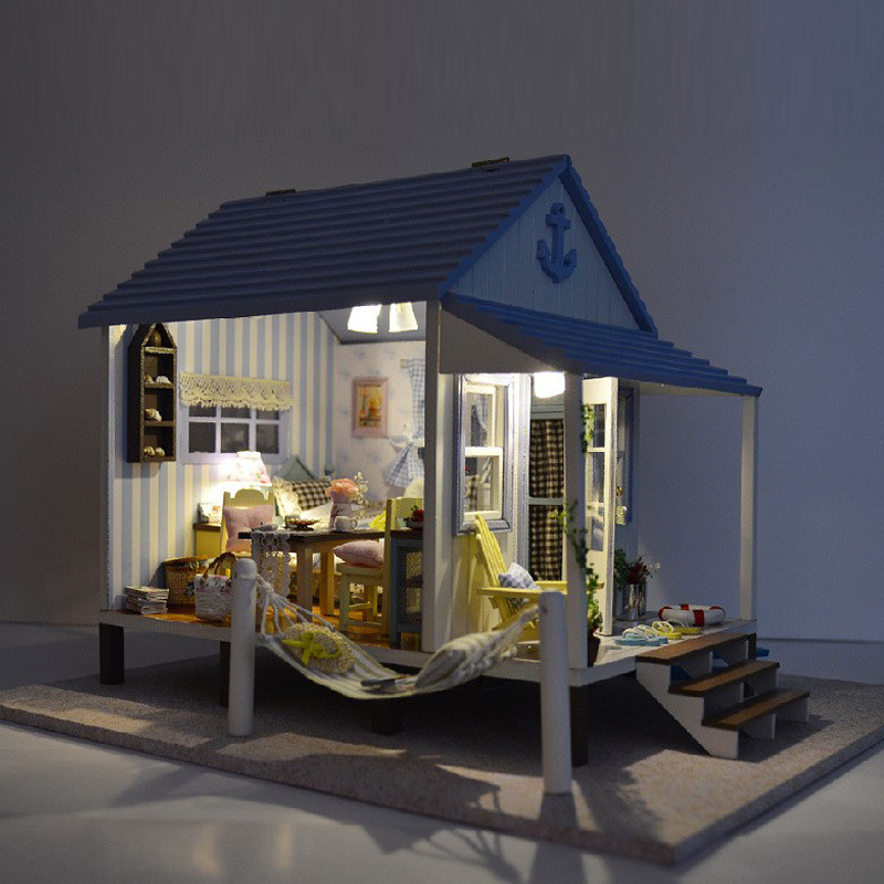 Free Shipping Assembling DIY Miniature Model Kit Wooden Doll House,Happiness Coast House Toy ,Voice-activated Switch & Music free shipping assembling diy miniature model kit wooden doll house house toy with furnitures