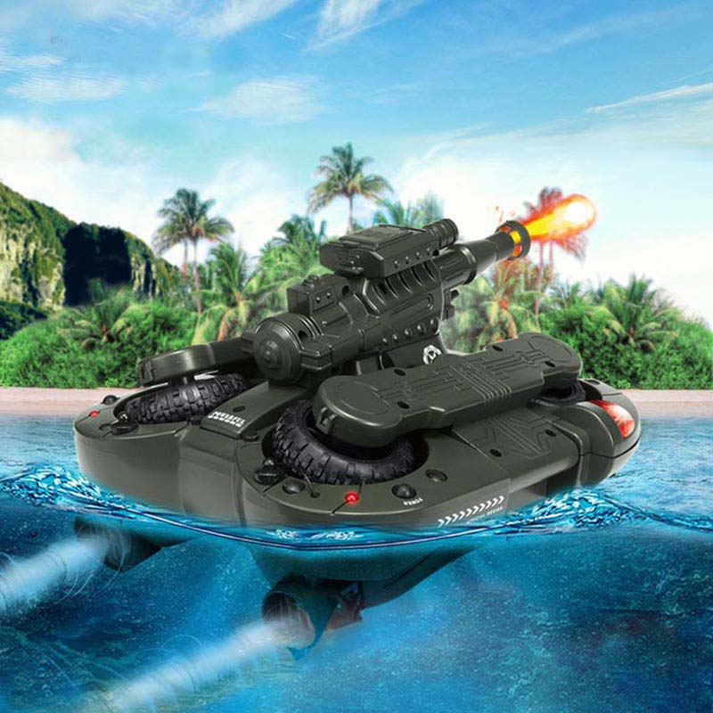 US $49 7 11% OFF|Army Amphibious RC Tank Toys Electronic Remote Control  Vehicle for Children Gifts Air Soft BB Bullet Water Spraying Shoot  Target-in