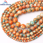 CAMDOE DANLEN Natural Stone Orange Blue Dots Rainbow Stone Round Loose Beads Fit Diy Handmade Charms Spacer Beads Jewelry Making