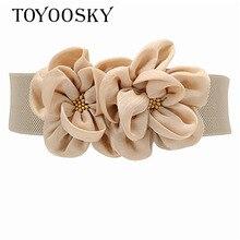 2018 New Arrival Luxury Women Wide Belt Big Flower Fabric girdle belt skinny for women Lady Girls TOYOOSKY
