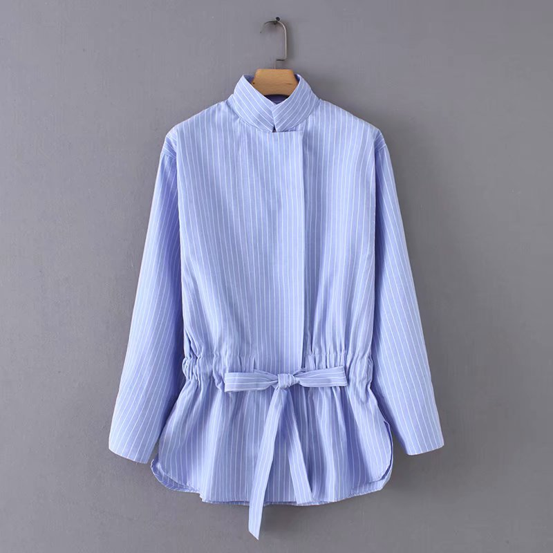 Women Vintage Stand Collar Striped Bow Tie Drawstring Casual Smock Blouses Shirts Women Chic Kimono Blusas Femininas Tops LS2773