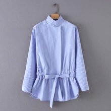 women vintage stand collar striped bow tie drawstring casual smock blouses