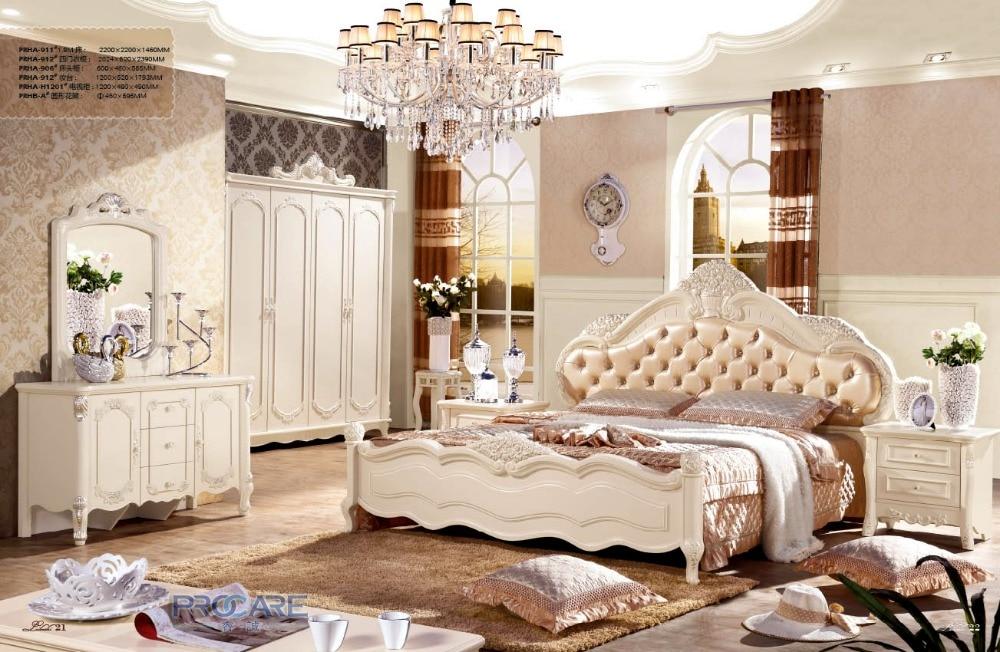 Foshan Fancy Leather Design Bedroom Furniture Sets Bed With 4 Doors Garderobe Wardrobebedside Cupboard Tabledresser