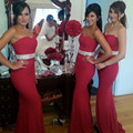 2016 Cheap Elegant Red Bridesmaid Dresses Long Mermaid Prom bridesmaid dress Sweetheart Gowns For Wedding party Free Shipping